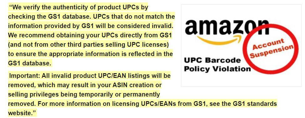 UPC codes for Amazon